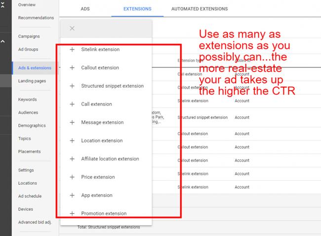 Tiện ích mở rộng - Google Ads